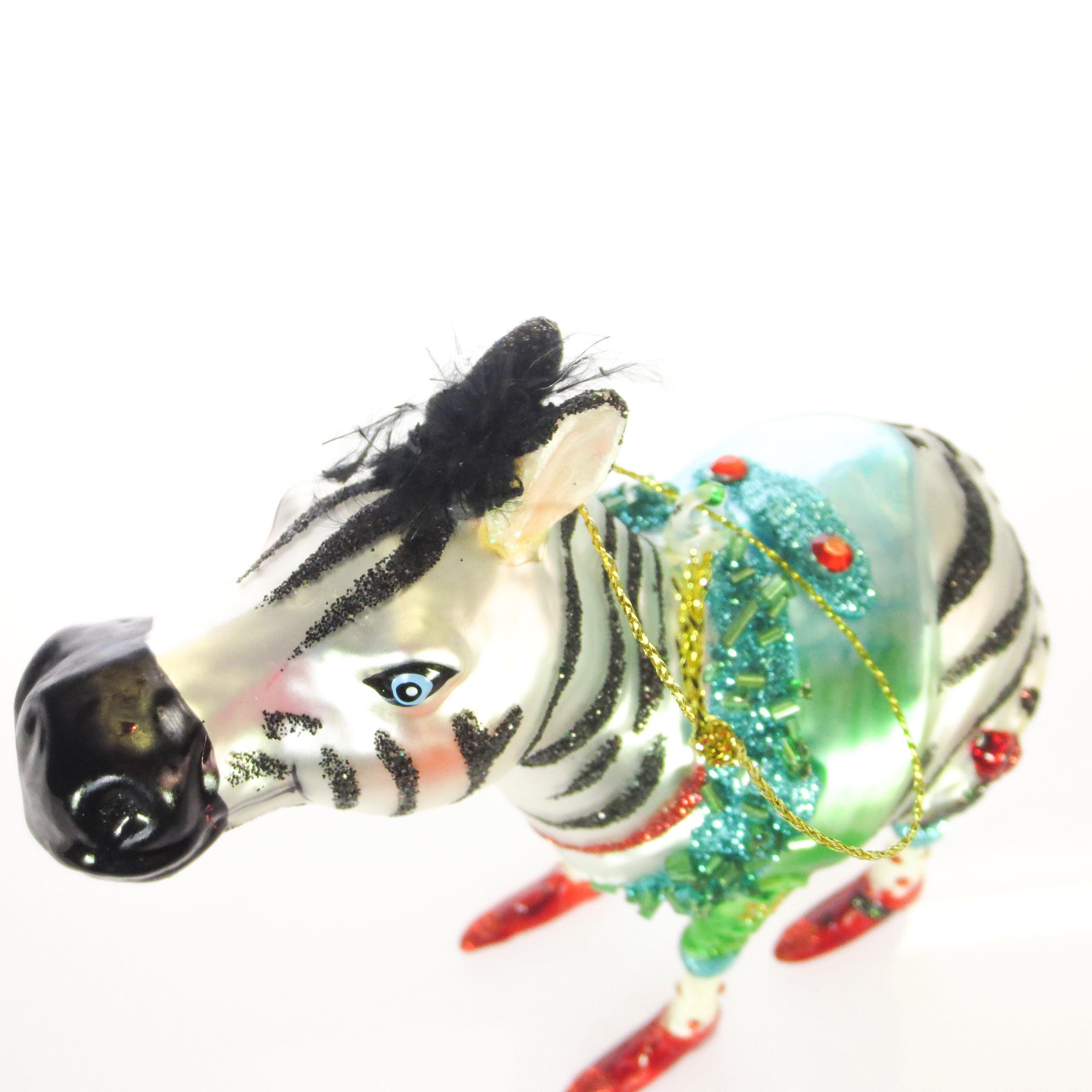 Hoff interieur glasschmuck christbaumschmuck 39 zebra for Hoff interieur de